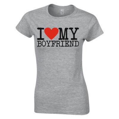I love my Boyfriend páros póló (Szürke)