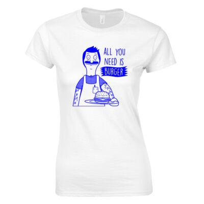 Bob Burger női póló (Fehér)