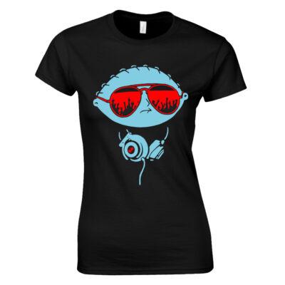 Party Stewie női póló (Fekete)