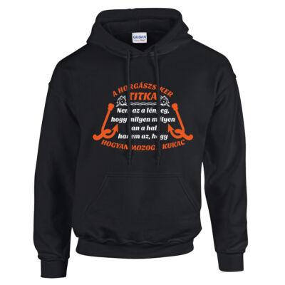 Horgászsiker titka, horgász, póló, vicces pulóver, hobbi pulóver (fekete)