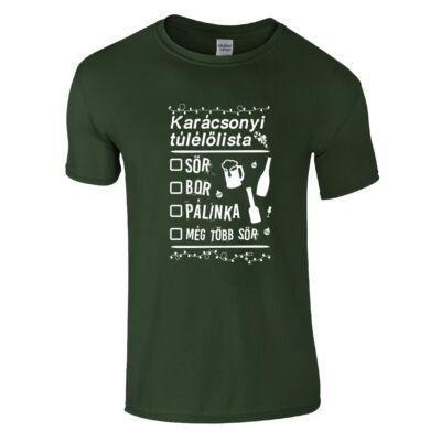 Karácsonyi túlélőlista póló (sötétzöld)