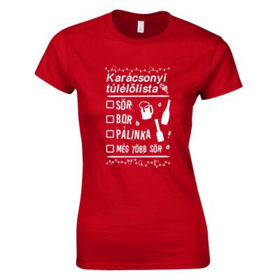 Karácsonyi túlélőlista női póló (piros)