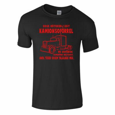 Sose kötekedj egy kamionsofőrrel póló (fekete)