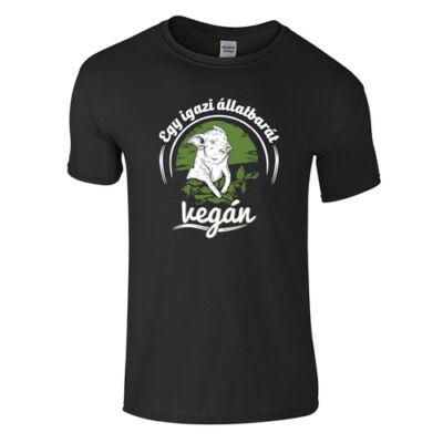Egy igazi állatbarát vegán férfi póló (fekete)
