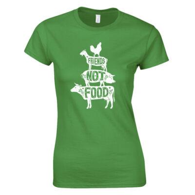 Friends not food női póló (zöld)