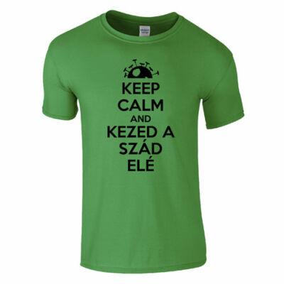 Kezed a szád elé férfi póló (zöld)