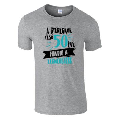 A gyerekkor első 50 éve férfi póló (Szürke)