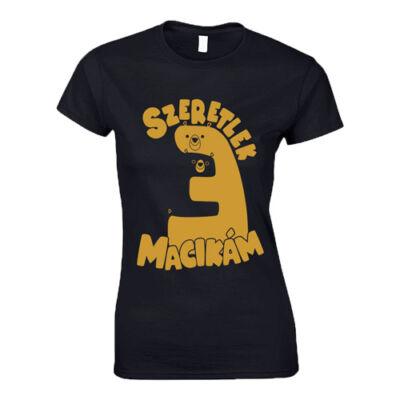 Szeretlek Macikám női póló (Grafit)