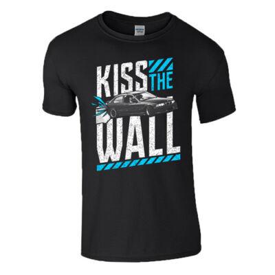 KISS THE WALL férfi póló (sötétkék)