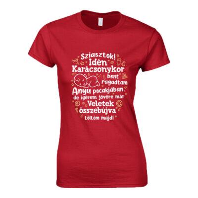 Anyu pocakjában női póló (Piros)