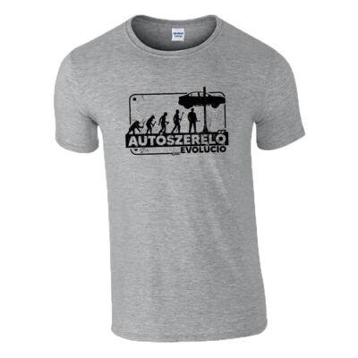Autószerelő evolúció póló (Szürke)