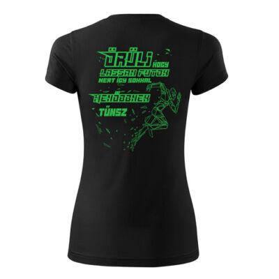 Menő futó női technikai póló (fekete)