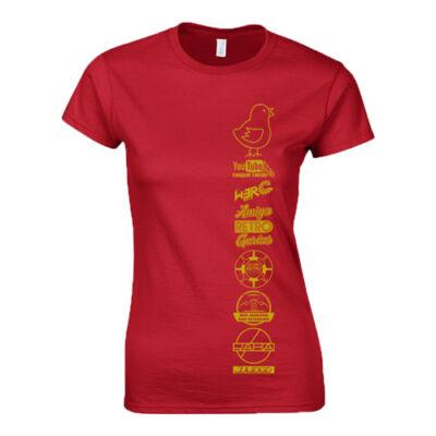 Csirketelep - logók női póló (Piros)