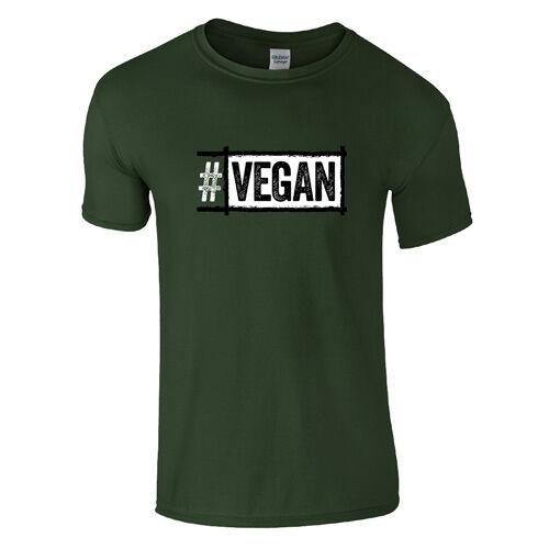 #Vegan férfi póló (sötétzöld)
