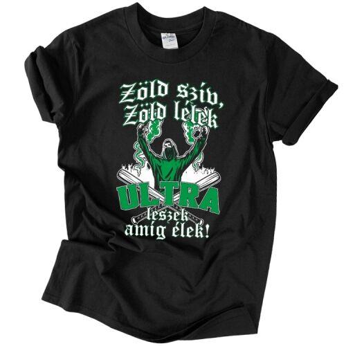Zöld szív, zöld lélek - férfi póló (Fekete)