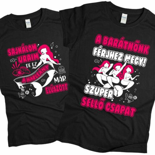 Sellő csapat - lánybúcsús póló szett (Fekete)