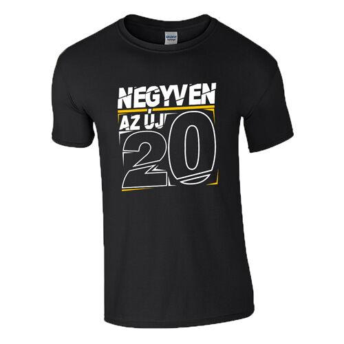 Az új 20 (Szülinap) póló (Fekete)