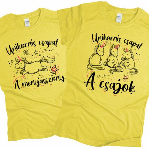 Unikornis csapat - lánybúcsús póló szett (Citrom)